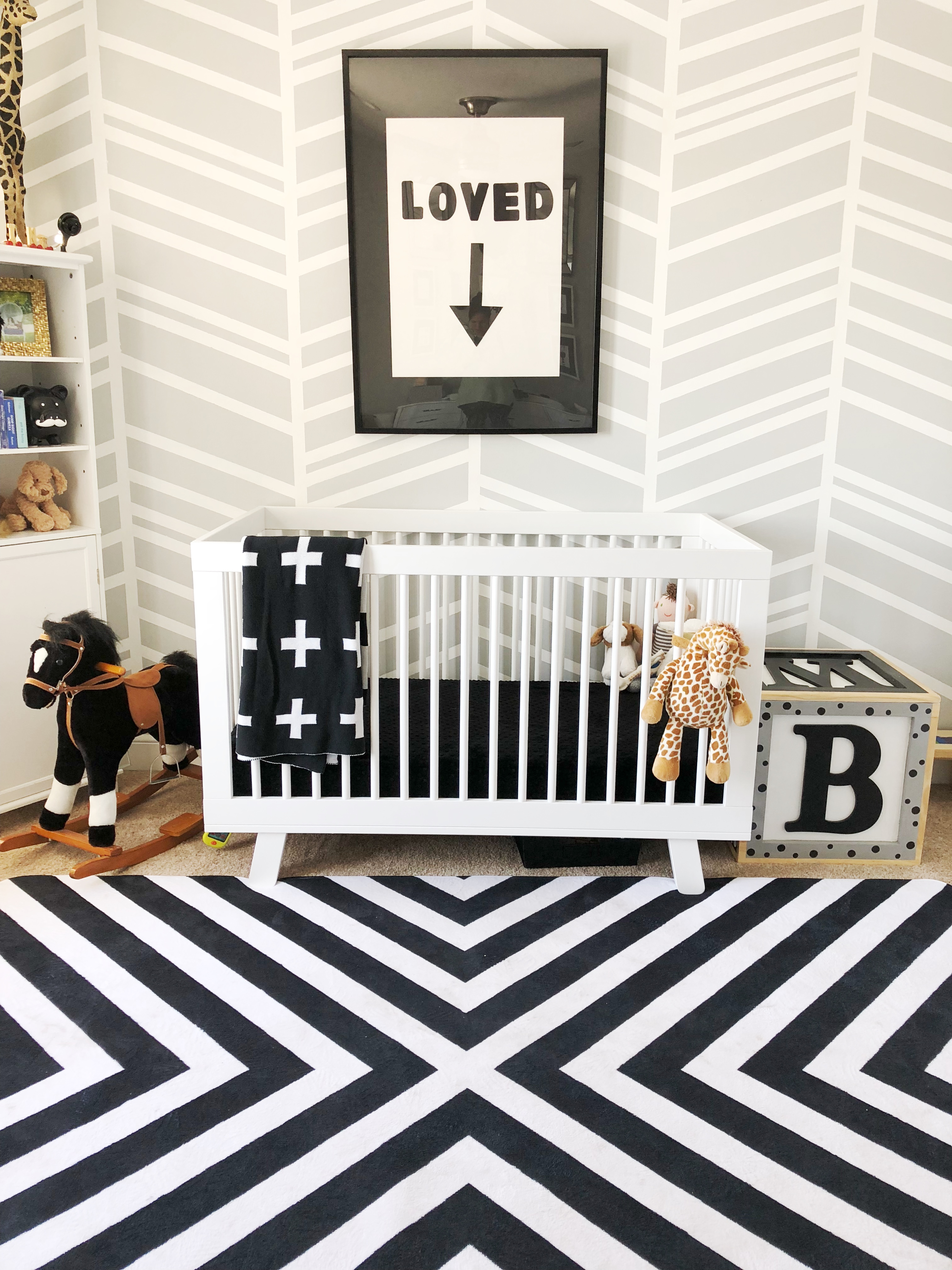 Gender Neutral Nursery Black white and grey