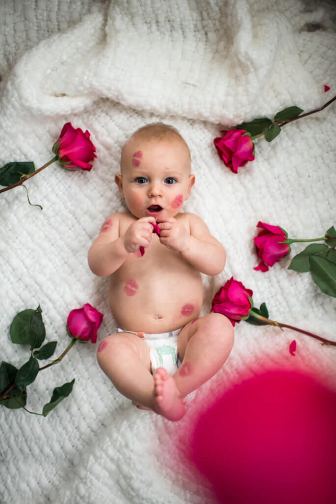 Valentines day baby pictures, Baby Valentines day photoshoot, baby's first Valentine's Day,